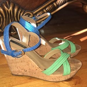 Ann Taylor Blue and Green Knotted Wedges
